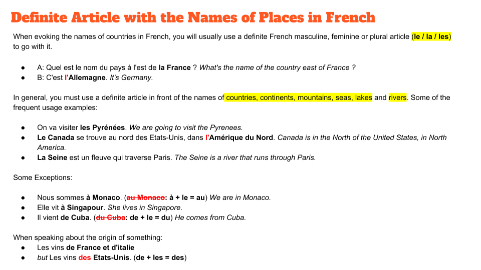 Names of Countries in French Definite Article Masculine Feminine